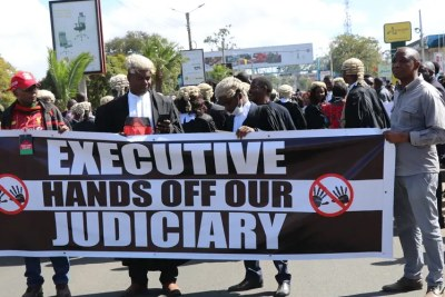 Malawi lawyers demonstrate in Blantyre against government interference in the judiciary on June 17.