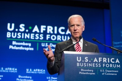 Vice President Joe Biden gives remarks to the U.S.- Africa Business Forum at the Mandarin Oriental Hotel in Washington, DC in 2014.