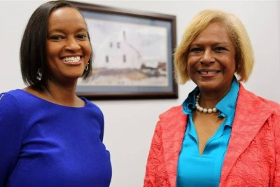 Patricia Baine (left), who has assumed duties as both President and CEO of the Africa Society, and Ambassador Pamela Bridgewater, outgoing CEO and  Board Chair.