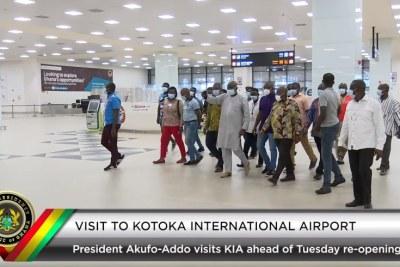 Ghana's President Nana Addo Dankwa Akufo-Addo visits Kotoka International Airport on Sunday, August 30, ahead of a re-opening on September 1, 2020.
