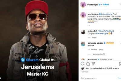 Master KG's hit song Jerusalema is World's most searched song.