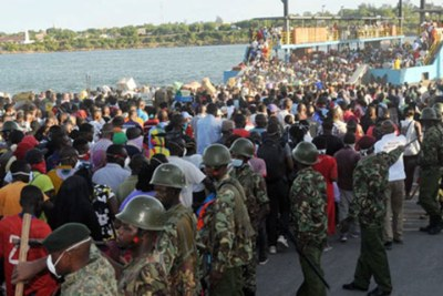 General Service Unit officers took over the Likoni ferry crossing channel in Mombasa on March 26.