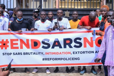 An #EndSARS protest in Lagos on October 10, 2020.