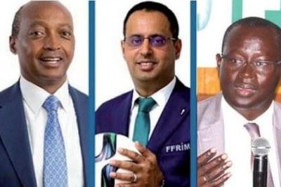 Les quatre candidats engagés dans la course pour la présidence de la Confédération africaine de football (CAF)
