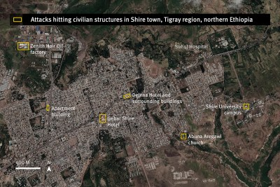 Location of attacks, striking on or near civilian structures in Tigray