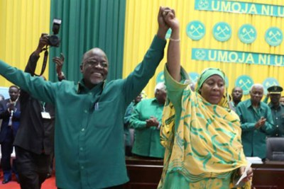 CCM president-elect Dr John Pombe Magufuli and vice president-elect Samia Suluhu Hassan in 2015.