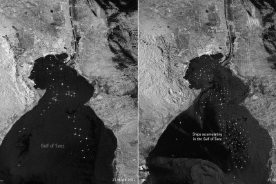 The giant container ship Ever Given  ran aground in the Suez Canal on March 23, 2021. The image on the left, captured on March 21, shows routine maritime traffic in the canal with vessels visible every 2 to 3 km. The image on the right, captured on 25 March, shows the 400 m-ship blocking the canal. Ships can be seen accumulating in the Gulf of Suez. The canal connects Port Said on the Mediterranean Sea to the Indian Ocean via the Egyptian city of Suez on the Red Sea.