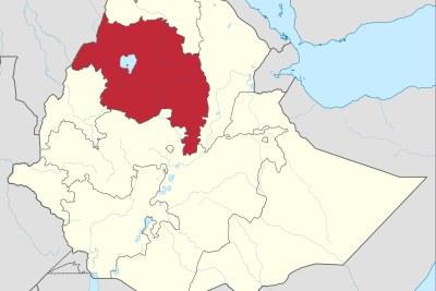 Une carte montrant l'emplacement de la région d'Amhara en Éthiopie.