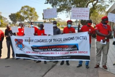 The protest by MCTU, which is the umbrella body of all trade unions in Malawi (file photo).