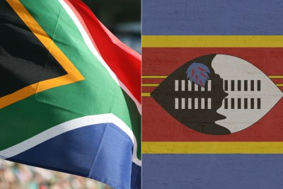 Left: South African flag. Right; eSwatini flag