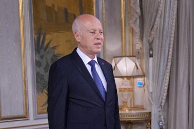 The President of Tunisia Kais Saied in 2020.