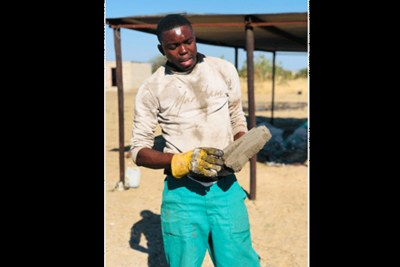 Namibian entrepreneur Ladislaus Shikerete who developed bricks from recycled plastic and sand.