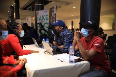 Jobberman facilitators conducting interviews at a Live Soft Skills training session in Lagos, Nigeria.