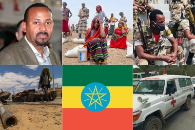 Prime Minister Abiy Ahmed, displaced people in Tigray, Ethiopian soldiers, destroyed army tanker, Ethiopian flag, injured being transported to Mekele