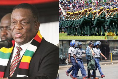 President Emmerson Mnangagwa, left, Presidential Guard, top right and Zimbabwe police (file photo).