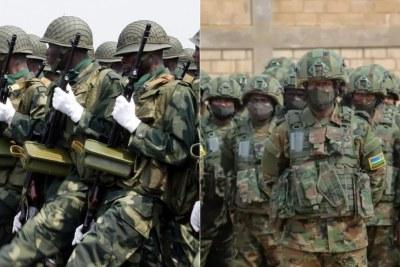 Forces Armées de la République Démocratique du Congo  (g) et les militaires rwandais (d)